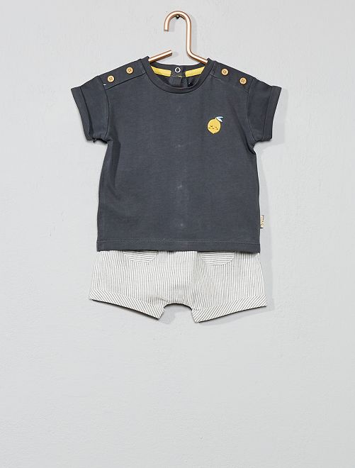 Conjunto de camiseta + pantalón corto 'limón'                             gris Bebé niño