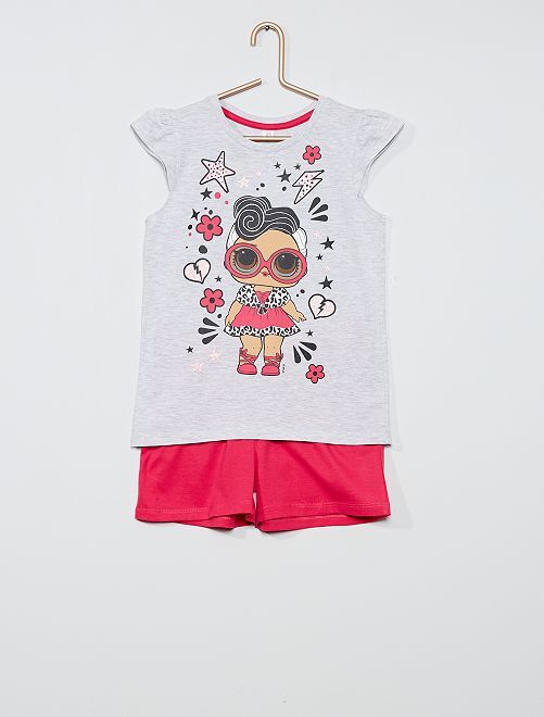 Conjunto de camiseta + pantalón corto 'L.O.L. Surprise'                                         gris/fucsia