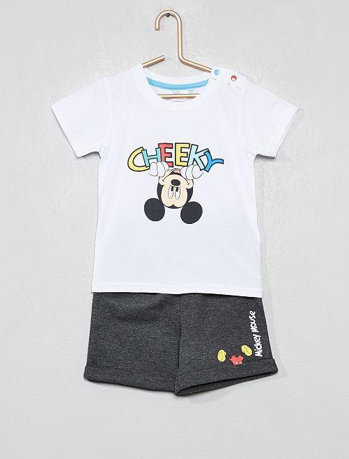 Conjunto de camiseta + pantalón corto 'Mickey'                             BLANCO Bebé niño