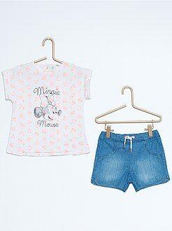 Niña 0-36 meses Conjunto de camiseta + pantalón corto 'Minnie'
