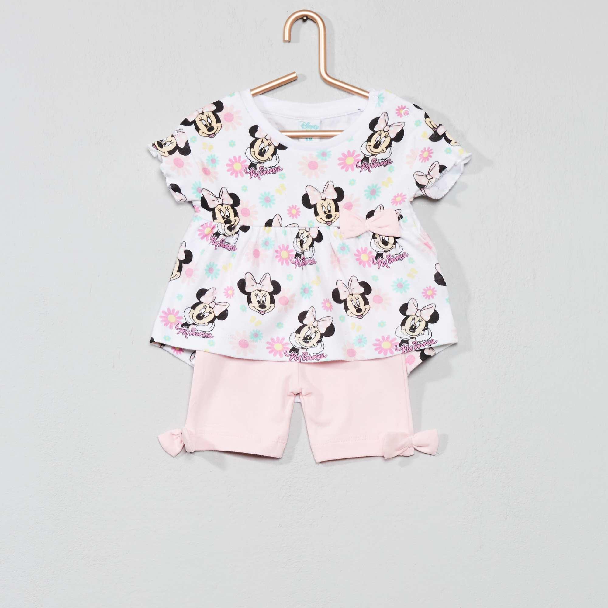 7655e09c9 Conjunto de camiseta + pantalón corto  Minnie  Bebé niña - ROSA ...