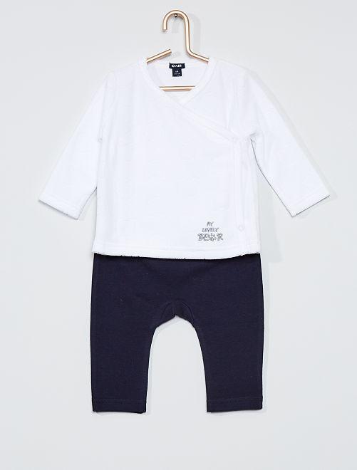 Conjunto de camiseta + pantalón 'oso'                                                     azul