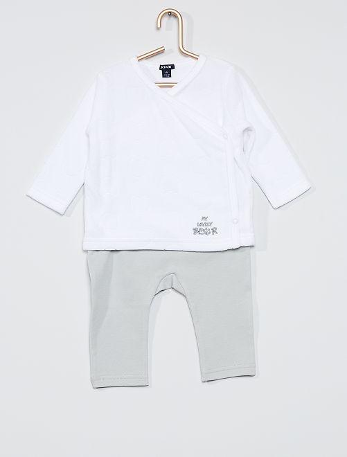 Conjunto de camiseta + pantalón 'oso'                                                     blanco