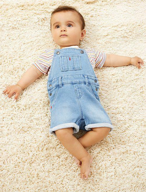 Conjunto de camiseta + peto vaquero                             AZUL Bebé niño