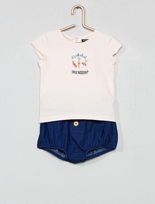 Conjunto de camiseta + pololo 'huerto'                             ROSA Bebé niña