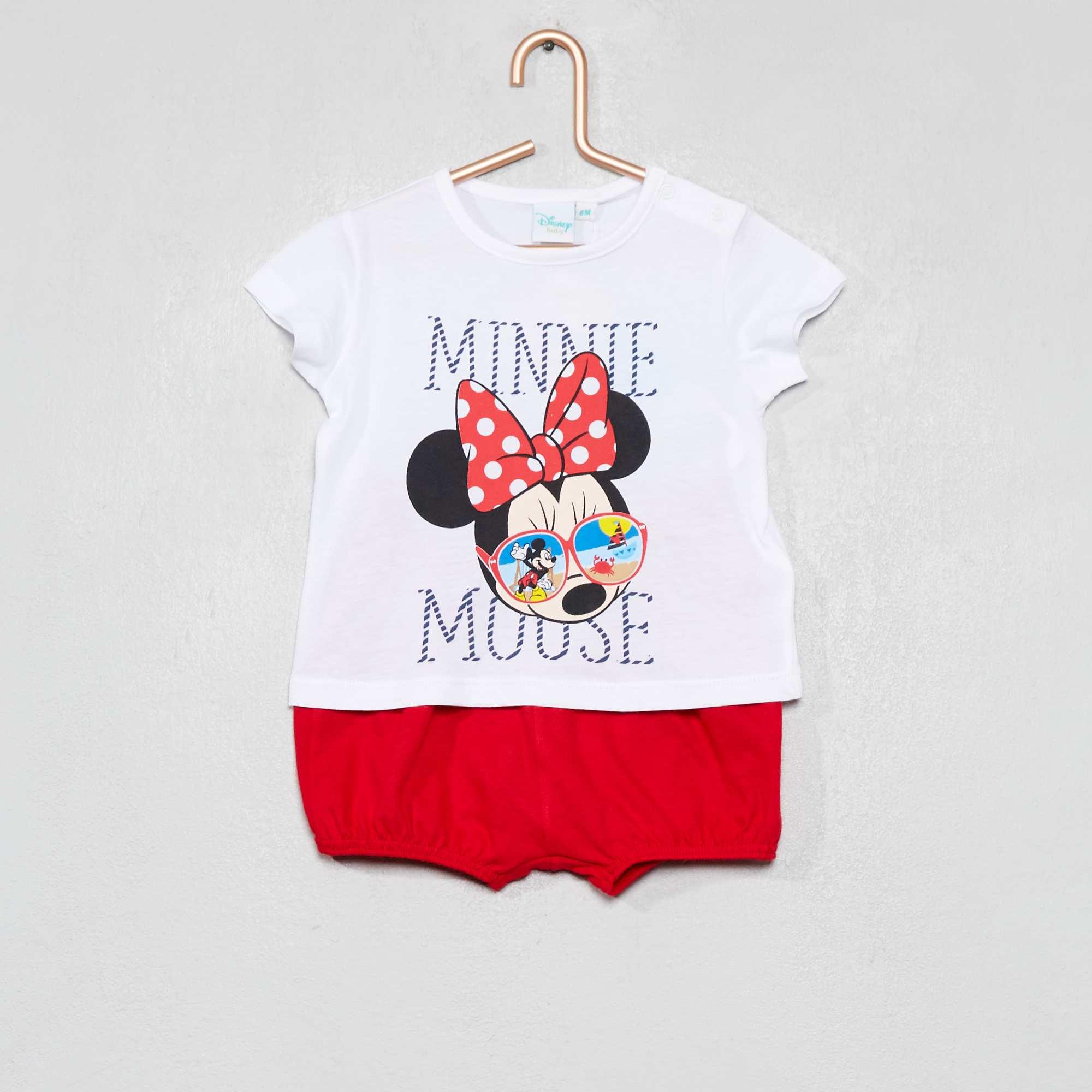 175190a3454 Conjunto de camiseta + short  Minnie  Bebé niña - BLANCO - Kiabi ...