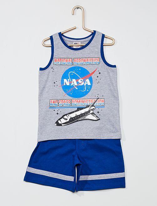 Conjunto de camiseta sin mangas + pantalón corto 'N.A.S.A.'                             gris/azul