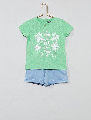 f27647d2e1c Niño 0-36 meses - Conjunto de camiseta  surf  + bermudas - Kiabi