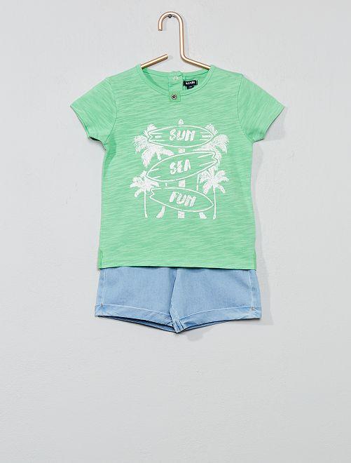 Conjunto de camiseta 'surf' + bermudas                             VERDE Bebé niño