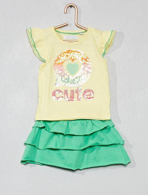 Conjunto de camiseta y falda con volantes                                         amarillo/verde Bebé niña