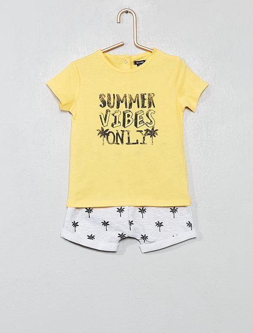 Conjunto de camiseta y pantalón corto                                                                                         AMARILLO Bebé niño