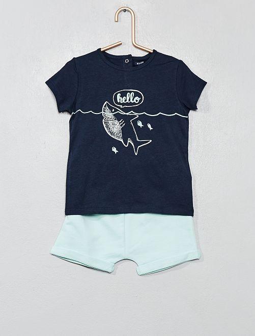 Conjunto de camiseta y pantalón corto                                                                 AZUL Bebé niño