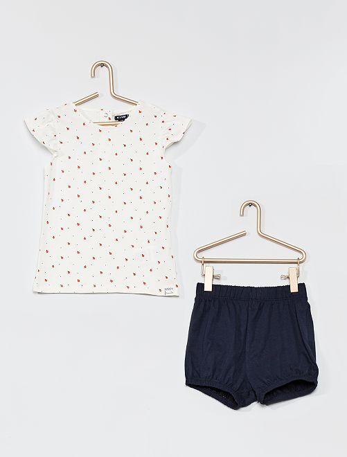 Conjunto de camiseta y pantalón corto                                                                 BLANCO