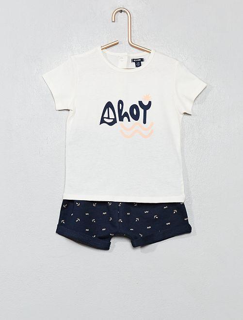 Conjunto de camiseta y pantalón corto                     BLANCO Bebé niño
