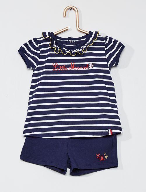 Conjunto de camiseta y pantalón corto 'Little Marcel'                             azul
