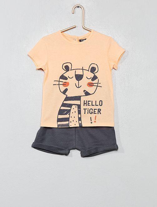 Conjunto de camiseta y pantalón corto                                                                                         NARANJA Bebé niño