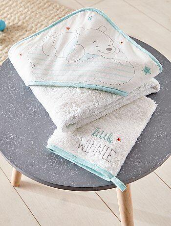 Niña 0-36 meses - Conjunto de capa de baño + manopla a juego - Kiabi