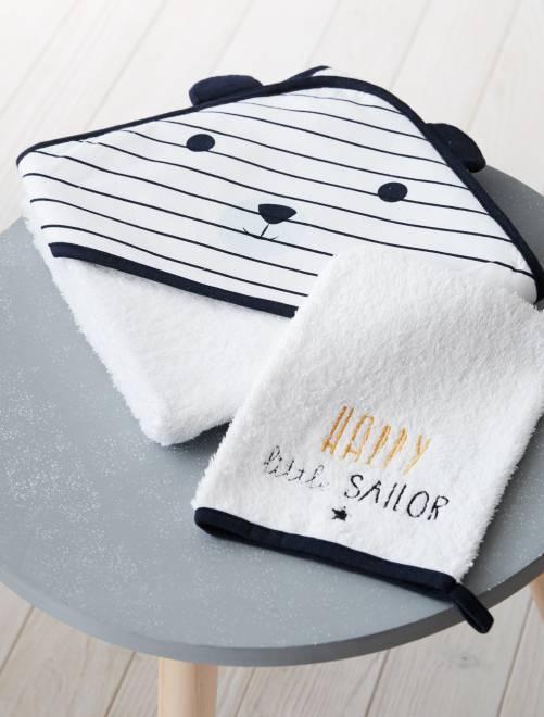 Conjunto de capa de baño y manopla a juego 'panda'                             blanco Bebé niño