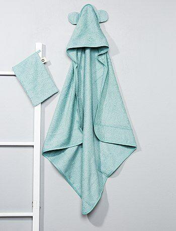 Niño 0-36 meses - Conjunto de capa de baño y manopla a juego - Kiabi