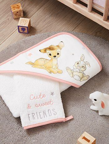 Niña 0-36 meses - Conjunto de capa de baño y manopla 'Bambi' 'Disney' - Kiabi