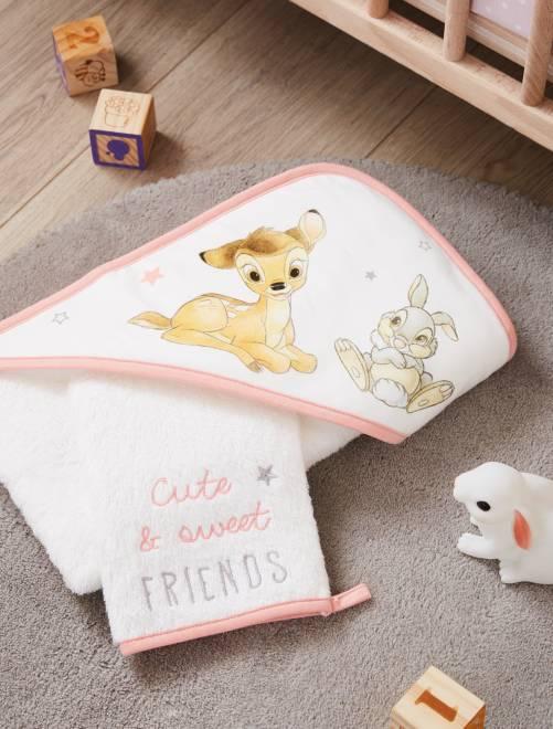 Conjunto de capa de baño y manopla 'Bambi' 'Disney'                             blanco nieve Bebé niña