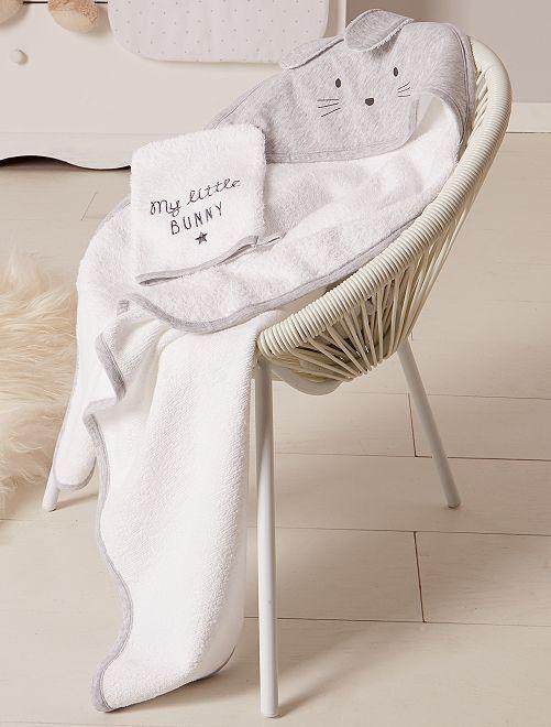 Conjunto de capa de baño y manopla 'conejo'                             GRIS Bebé niña