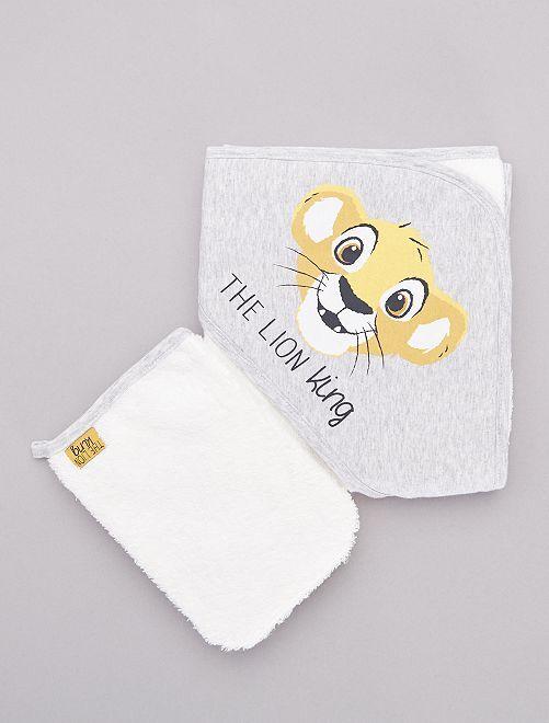 Conjunto de capa de baño y manopla 'El rey león'                             GRIS Bebé niño
