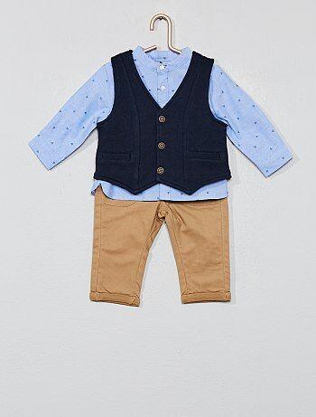 79d221430 Niño 0-36 meses - Conjunto de chaleco + camisa + pantalón - Kiabi