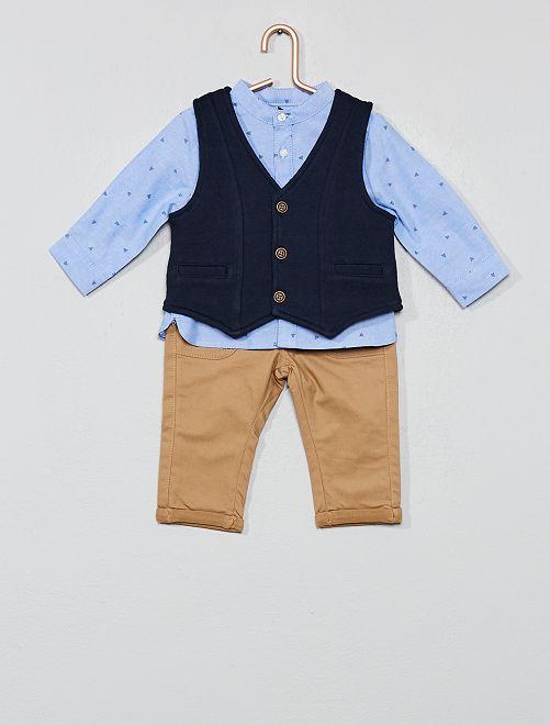 Conjunto de chaleco + camisa + pantalón                             BEIGE
