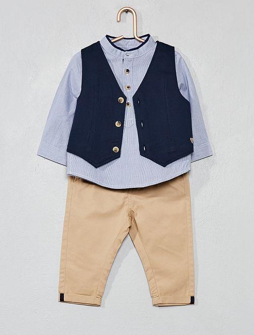 Conjunto de chaleco + camisa + pantalón                             BLANCO Bebé niño