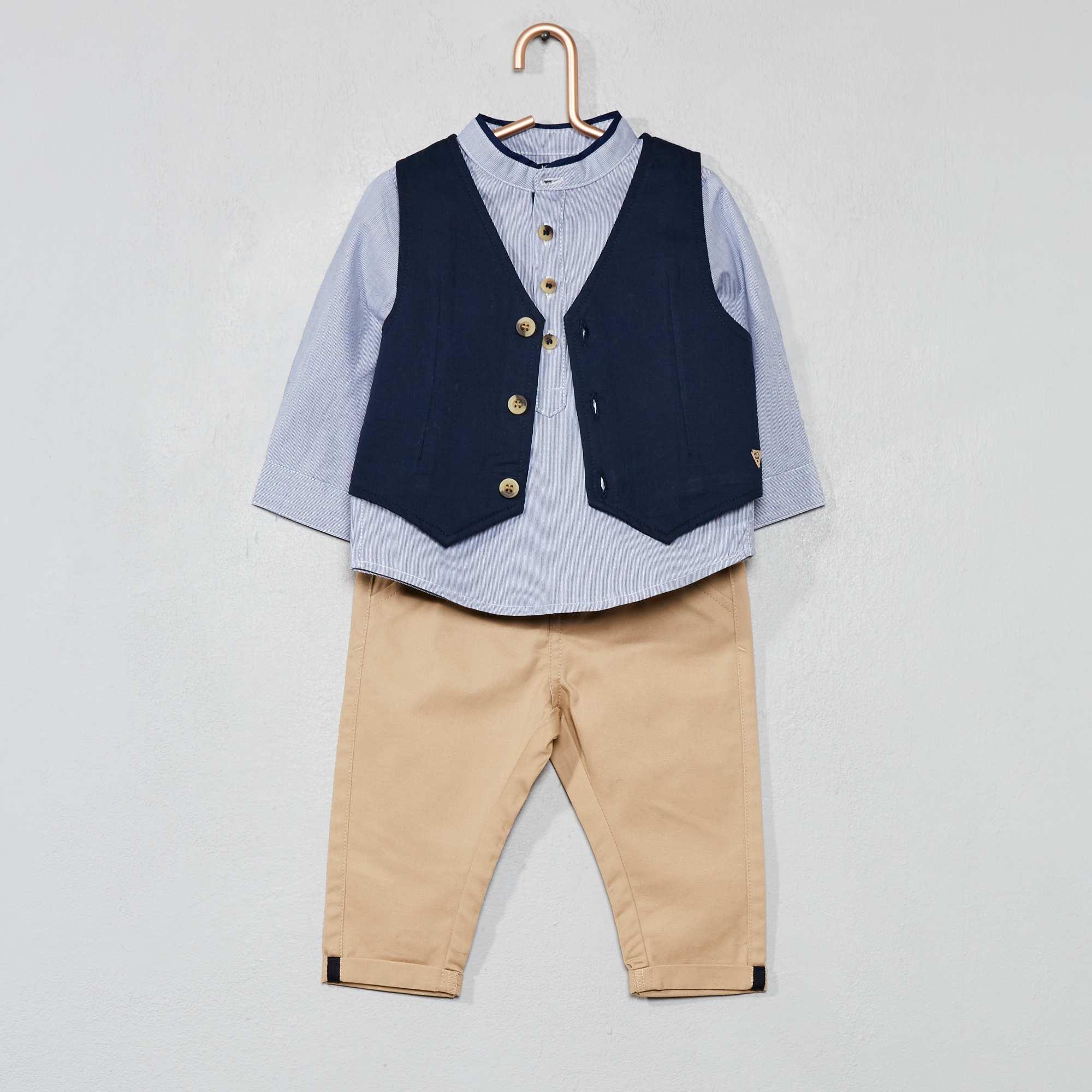 0612a1dc029 Conjunto de chaleco + camisa + pantalón BLANCO Bebé niño. Loading zoom. Haz  clic en ...