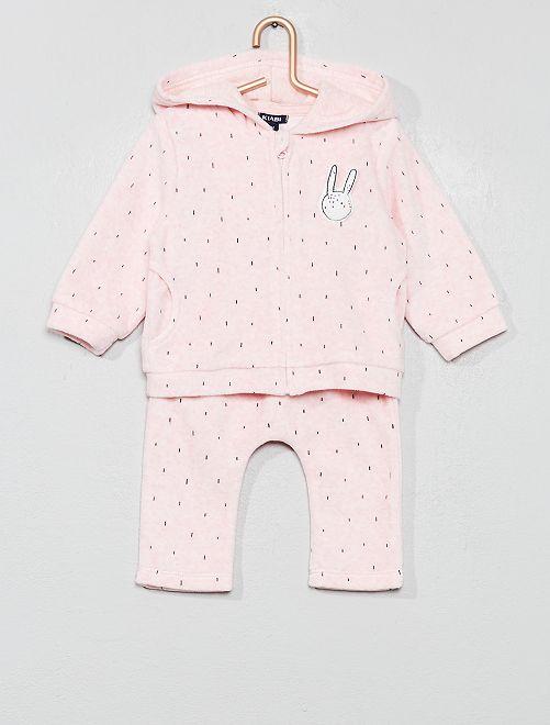 Conjunto de chaqueta + pantalón 'conejo'                                         rosa