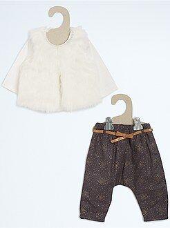 Niña 0-36 meses Conjunto de fiesta: camiseta + chaleco de borreguito + sarouel