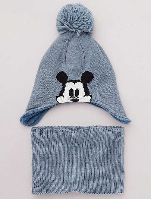 Conjunto de gorro + braga 'Mickey'                             azul gris