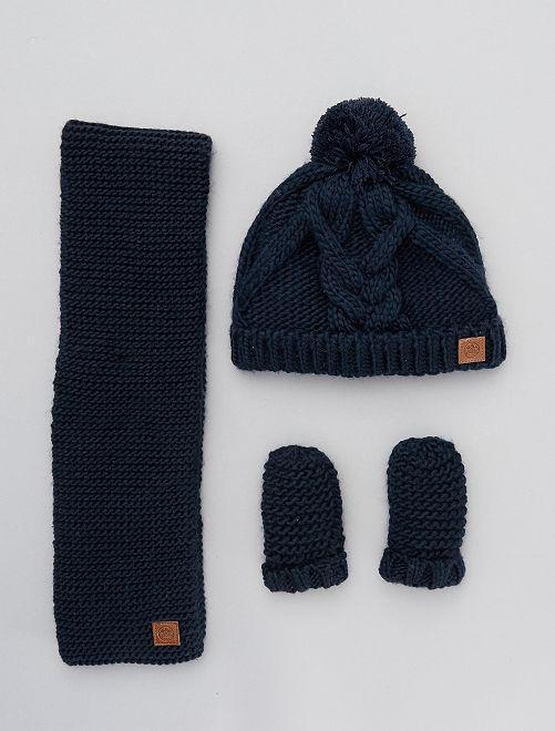 Conjunto de gorro + bufanda + manoplas                                         azul