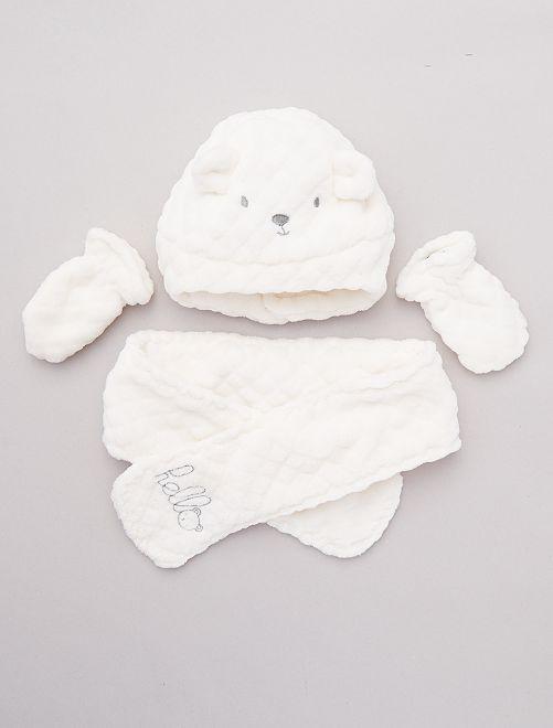 Conjunto de gorro + bufanda + manoplas                                         blanco nieve
