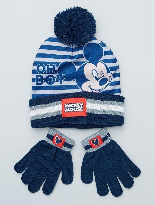 Conjunto de gorro + guantes 'Mickey'                             azul