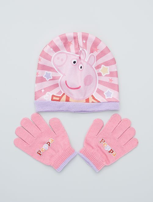 Conjunto de gorro + guantes 'Peppa Pig'                             rosa