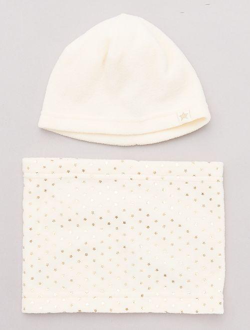 Conjunto de gorro y braga de tejido polar                                         BEIGE