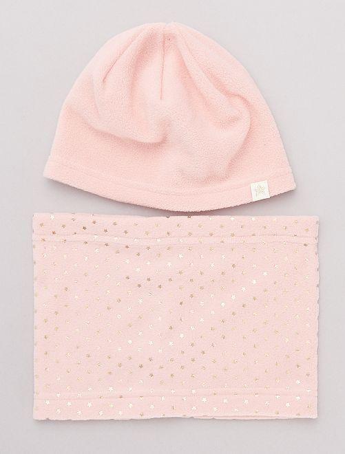 Conjunto de gorro y braga de tejido polar                     rosa