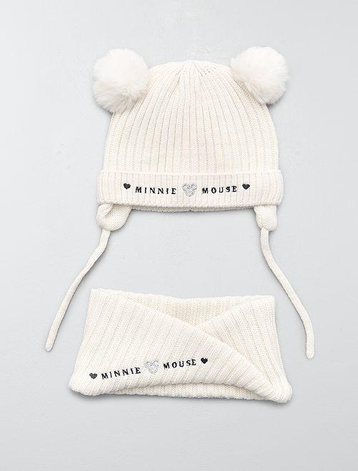 Conjunto de gorro y braga 'Mickey Mouse'                             blanco nieve