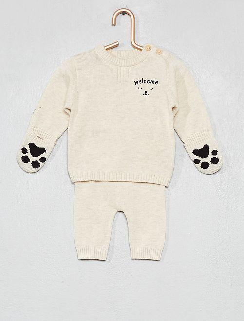 Conjunto de jersey + pantalón de algodón orgánico                             BEIGE Bebé niño