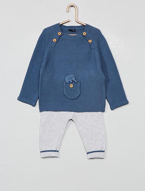 Conjunto de jersey + pantalón 'eco-concepción'                             AZUL Bebé niño