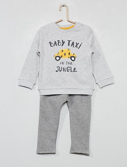 Conjunto de jogging con mensaje                             GRIS Bebé niño