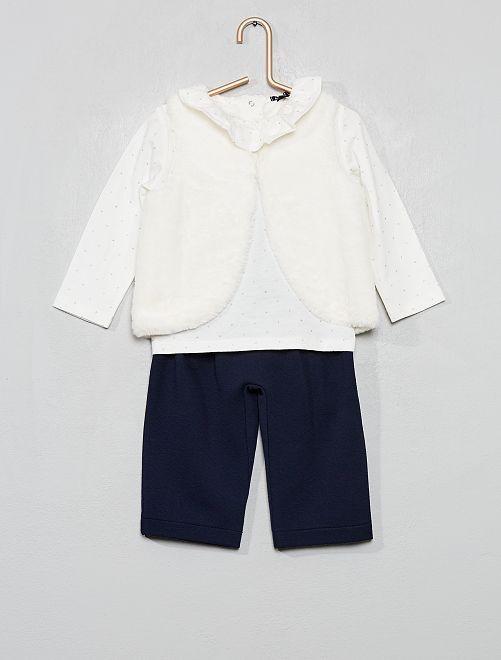 Conjunto de pantalón + camiseta + chaleco                             BLANCO