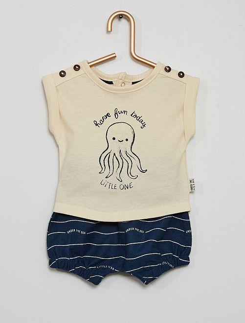 Conjunto de pantalón corto + camiseta                                         AZUL