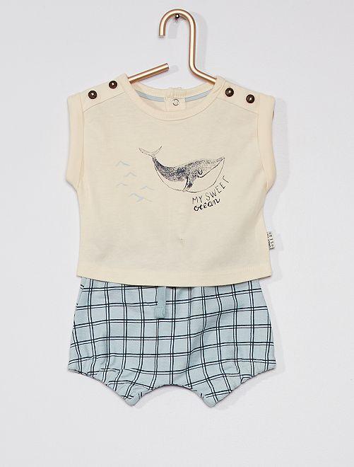 Conjunto de pantalón corto + camiseta                                         BLANCO