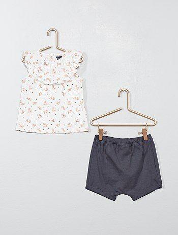 ed3cb4631 Niña 0-36 meses - Conjunto de pantalón corto + camiseta  gato  -
