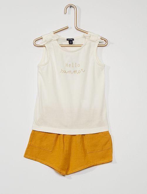 Conjunto de pantalón corto + camiseta sin mangas                                         AMARILLO