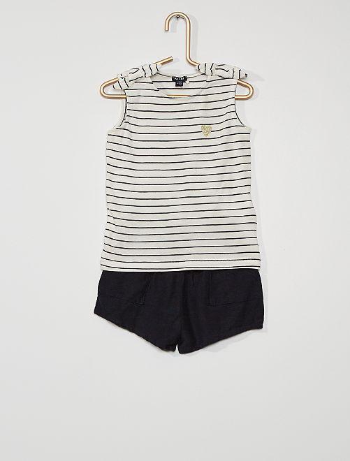 Conjunto de pantalón corto + camiseta sin mangas                                         BLANCO